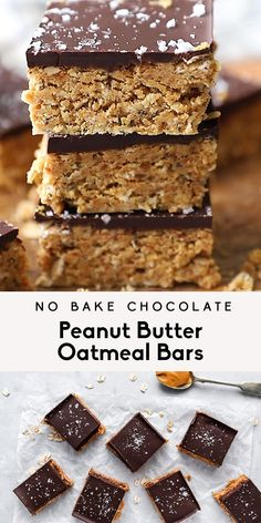 Incredible vegan no bake chocolate peanut butter oatmeal bars made with simple ingredients like natural peanut butter, dates, chia seeds, flax and rolled oats. These healthy no bake peanut butter oatmeal bars make a wonderful snack or healthy dessert and are delicious and chewy straight from the fridge. Freezer friendly and gluten free! #sponsored #PeanutSuperfood #Peanuts #PeanutInstitute #nobake #vegandessert #glutenfree #healthydessert