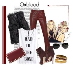 """""""*Oxblood-contest * - Set #3"""" by sassy-elisa ❤ liked on Polyvore featuring Balmain, Emilio Pucci, Gianvito Rossi, H&M, Valentino, Ray-Ban, Bold Elements, Leather and oxblood"""