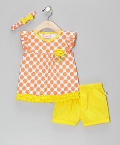 Take a look at this Orange & Yellow Ruffle Polka Dot Cap-Sleeve Top Set by Duck Duck Goose on #zulily today!