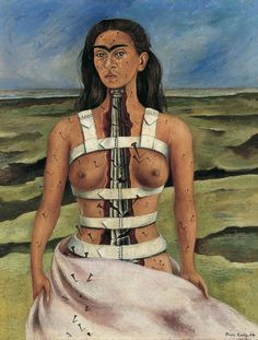 The Broken Column (1944) self-portrait painted by Frida Kahlo