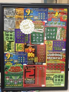 Dirty Santa Gift: cheap frame from the dollar store filled with lottery tickets! Diy Christmas Gifts, Christmas Fun, Holiday Gifts, Holiday Ideas, Christmas Gifts Grandma, Inexpensive Christmas Gifts, Christmas Gift Baskets, Grandma Gifts, Homemade Christmas