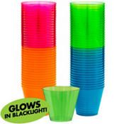 Big Party Pack Black Light Neon Plastic Tumblers 72ct