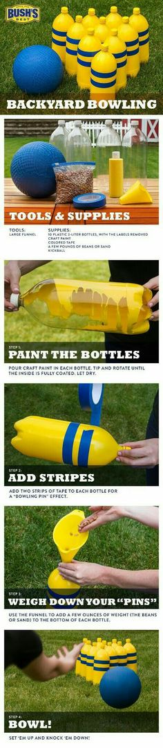 FUN IDEAS FOR KIDS -DIY Backyard Bowling – Easy to make with kids,, and a great way to recycle the bottles leftover after a summer BBQ. So start saving those soda bottles. Backyard Games, Outdoor Games, Outdoor Play, Backyard Bbq, Outdoor Bowling, Backyard Ideas, Backyard Playground, Playground Ideas, Party Outdoor