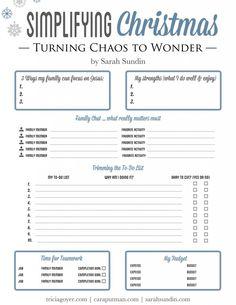 12 Tips to Turn Christmas Chaos into Christmas Wonder by Sarah Sundin ... with PRINTABLE!