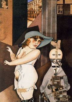 George Grosz (German, American [Dada, Neue Sachlichkeit] Daum Marries Her Pedantic Automaton George in May John Heartfield is Very Glad of It. Watercolor and collage. Max Beckmann, John Heartfield, George Grosz, New Objectivity, Degenerate Art, Dada Art, Expressionist Artists, Art Students League, Art History