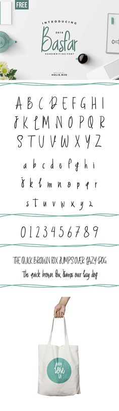 #Free Basfar #Handwriting #Fontis a well designed font that was designed by Holis Majid with simple and gentle, friendly impression, whether used for writing quote, invitation cards, postcards, label products, logos or anything that takes a handwriting touch. via @creativetacos
