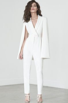 515849c1ae3 White wrap jumpsuit with cape. Chic outfit inspiration. Prom Jumpsuit