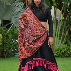 black solid chaniya choli with multicolor heavy embroidered dupatta