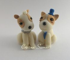 Handmade cake topper Dogs couple sitting by RUSTIKOcakeDecoratio, €35.00