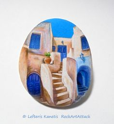 Houses On Greek Island Of Santorini  Painting on Stone by RockArtAttack