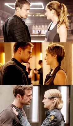 Four and Tris The Divergent Tris E Tobias, Divergent Theo James, Divergent Four, Divergent Trilogy, Divergent Insurgent Allegiant, Divergent Memes, Divergent Hunger Games, Divergent Fandom, Tris E Quatro