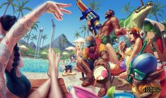 Pool Party! Art by Alvin Lee. // DeviantART.com // #LeagueOfLegends