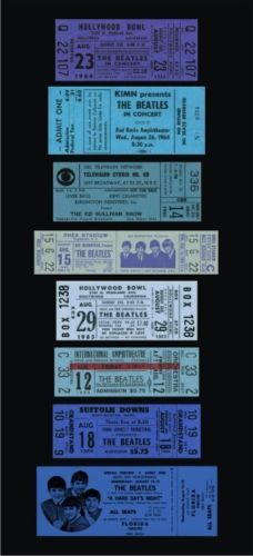 8 BEATLES FULL UNUSED replica CONCERT & MOVIE TICKET BLUE 1964-66 5 day auction