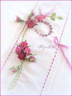 Ribbon embroidery towel Nigar Hikmet