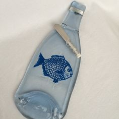 Big Fish Painted on Clear Glass  Melted Wine Bottle Cheese Tray / Wine Bottle Spoon Rest by TheWineLadyco on Etsy