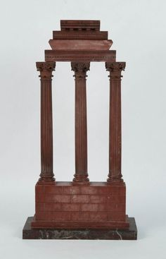 GRAND TOUR CARVED ROUGE MARBLE CORINTHIAN COLUMN GROUP - height: 23 in.