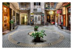 Off the beaten track courtyard in downtown Budapest Hungary