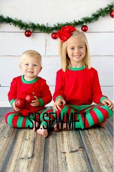 Christmas pajamas with monogram for baby, toddler child ...