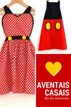 Presente para o Dia dos Namorados! Combo de Avental divertido Minnie e Mickey para o casal curtir a cozinha ainda mais juntinho :)