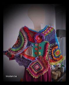 freeform crochet, colorful