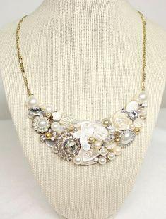 Gold Bridal Statement Necklace- Vintage-Inspired Wedding Jewelry- Gold Pearl Statement Necklace- Gold Bridal Bib Necklace-Gold and Ivory Bib