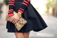 Black or Navy with Coral and Gold. nice combo