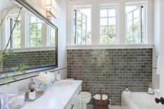 gray bathroo pictures | Urrutia Design - bathrooms - Grey Subway Tile, Subway Tile, Carrara ...
