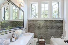gray bathroo pictures | Urrutia Design - bathrooms - Grey Subway Tile, Subway Tile, Carrara ...