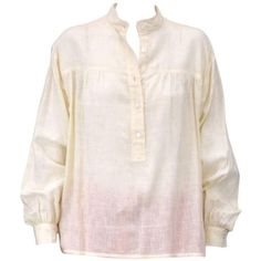 Preowned Yves Saint Laurent Ivory Cotton Peasant Shirt ($395) ❤ liked on Polyvore featuring tops, blouses, white, ysl, shirts, cotton shirts, peasant blouse, vintage shirts, vintage peasant blouse and cotton peasant blouse