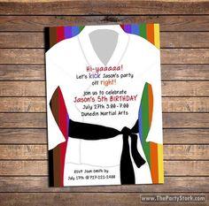 Karate Invitation, Karate Party Invitations, Karate Birthday Party Invitation…                                                                                                                                                                                 Más