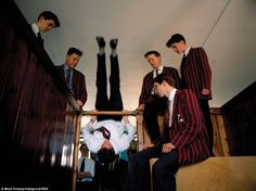 Thirty Years On: A Private View of Public Schools - Here, at Fettes boys can be seen performing a 'bar'. Once a common ritual before bed, but also traditionally used to celebrate a match victory against Loretto School. It involves rolling over the horizontal bars that framed the doorway into each dormitory cubicle where the boys slept