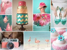 pink and blue wedding ideas and a super cute pink flamingos