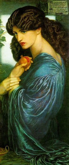 Persephone by Dante Gabriel Rossetti - (Greek mythology) daughter of Zeus and Demeter; made queen of the underworld by Pluto in ancient mythology; identified with Roman Proserpina