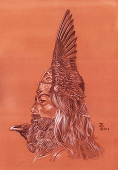 """Odin"" - Joseph Bellofatto (c2014) 18x12 - Conte pencil on toned paper"