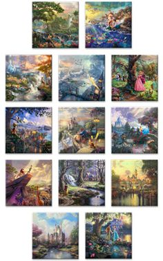 Ultimate Disney Collection (Complete Set of 13) - 14 x 14 Gallery Wrapped Canvases - Thomas Kinkade Shop Online