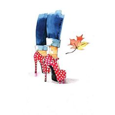 Brayden Studio Red Dots Heels Painting Print on Wrapped Canvas Size: