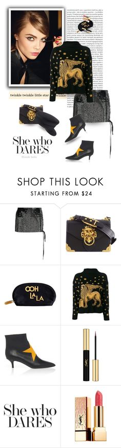 """""""Baby you were born to stand out"""" by blonde-bedu ❤ liked on Polyvore featuring Oris, Yves Saint Laurent, Anthony Vaccarello, Prada, Rosanna, Alberta Ferretti and Chanel"""
