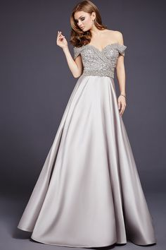 Military Ball-Elegant off the shoulder empire waist a-line dress features a crystal embellished bodice