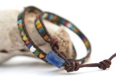 Double wrap leather bracelet with recycled glass african beads. Perfect gift for men by JustWanderlustShop