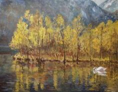 Swan Swan Painting, Buy Prints, Monet, Oil On Canvas, Saatchi Art, Original Paintings, Things To Think About, Romantic, Mountains