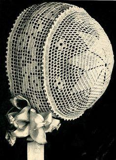 Vintage Antique Baby Cap Hat Bonnet Crochet Pattern FiletStarBB