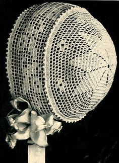 Vintage Antique Baby Cap Hat Bonnet Crochet Pattern FiletStarBB