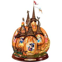 Disney's Enchanted Pumpkin Castle Sculpture Pumpkin-shaped Disney castle features Archived Disney imagery of 12 beloved characters, lights up from within and plays eerie Halloween sounds. Bradford Exchange Disney, Halloween Sounds, Halloween Village, Halloween Ideas, Disney Halloween Decorations, Halloween Table, Halloween Cakes, Halloween Activities, Halloween Projects