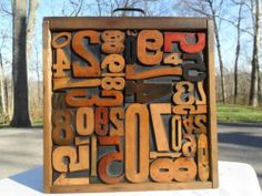 Letterpress Antique Wood Type All Numbers Graphic Design / Wood Drawer 39 Pieces