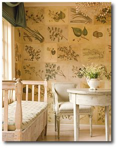 Swedish Furniture - Decorating with Swedish Style Furniture - House Beautiful Swedish Decor, Swedish Style, Swedish Design, Botanical Wallpaper, Of Wallpaper, Botanical Prints, Botanical Decor, Botanical Interior, Leaves Wallpaper