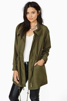 Nasty Gal - leather pants + military jacket