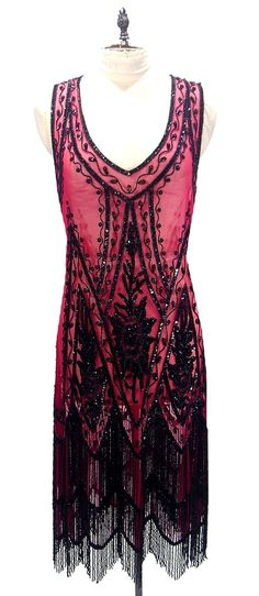 Red and Black 1920's style dress - I so love this style ... I should have been a flapper in the 1920`s