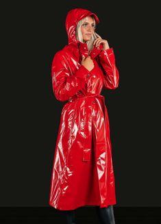 Red Raincoat, Vinyl Raincoat, Plastic Raincoat, Imper Pvc, Tan Trench Coat, Hooded Cloak, Langer Mantel, Rain Gear, Pvc Coat