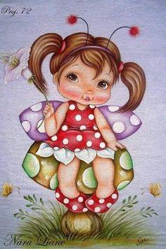 Resultado de imagem para menina joaninha pintura em tecido