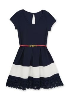 Rare Editions  Navy And Ivory Striped Belted Knit Dress Girls 7-16